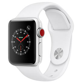 Apple Watch Series 3 Prata com Pulseira Esportiva Branca, 38 mm, Bluetooth, 4G e 16 GB - MTGN2BZ/A