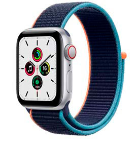 Apple Watch SE Prata, 40mm,GPS+Celular, com Pulseira Loop Azul