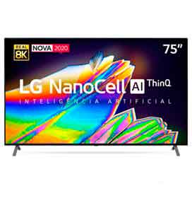 Smart TV 8K LG LED 75 com IPS NanoCell, Dolby Atmos e Wi-Fi - 75NANO95SNA