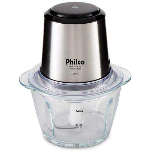Mini Processador Philco com Tigela de Vidro Inox Glass - PPS01